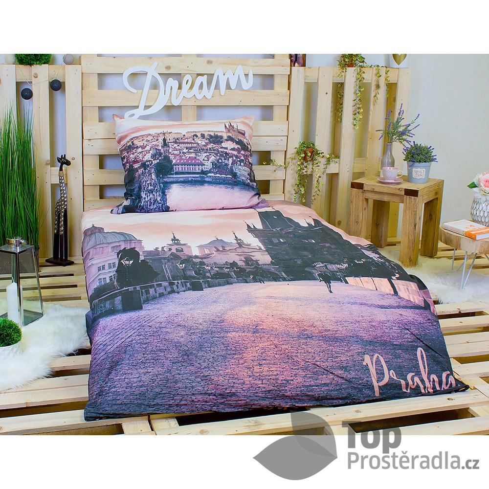 Jerry Fabrics 3D povlečení bavlna 140x200 + 70x90 - Praha Romantická