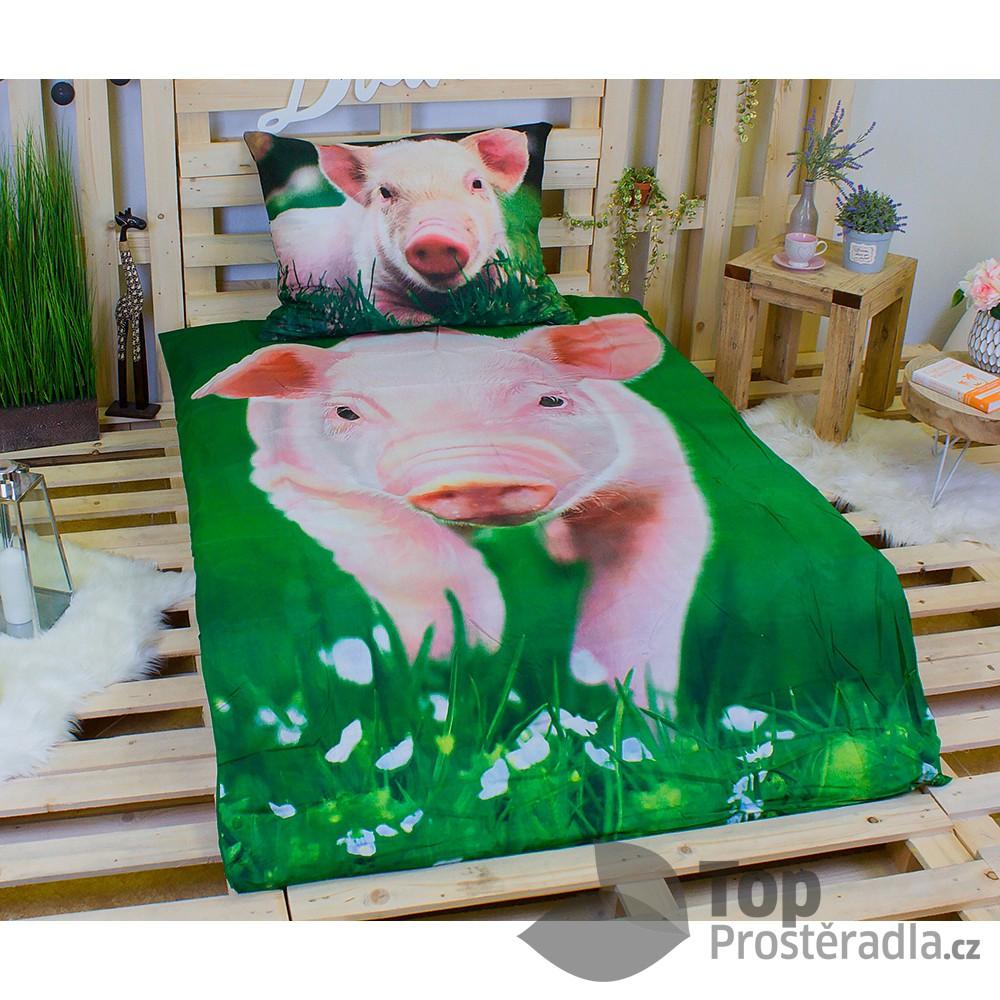 Jerry Fabrics 3D povlečení bavlna 140x200 + 70x90 - Prasátko