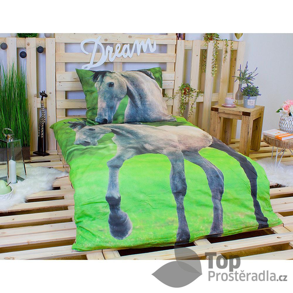 Jerry Fabrics 3D povlečení bavlna 140x200 + 70x90 - Horse