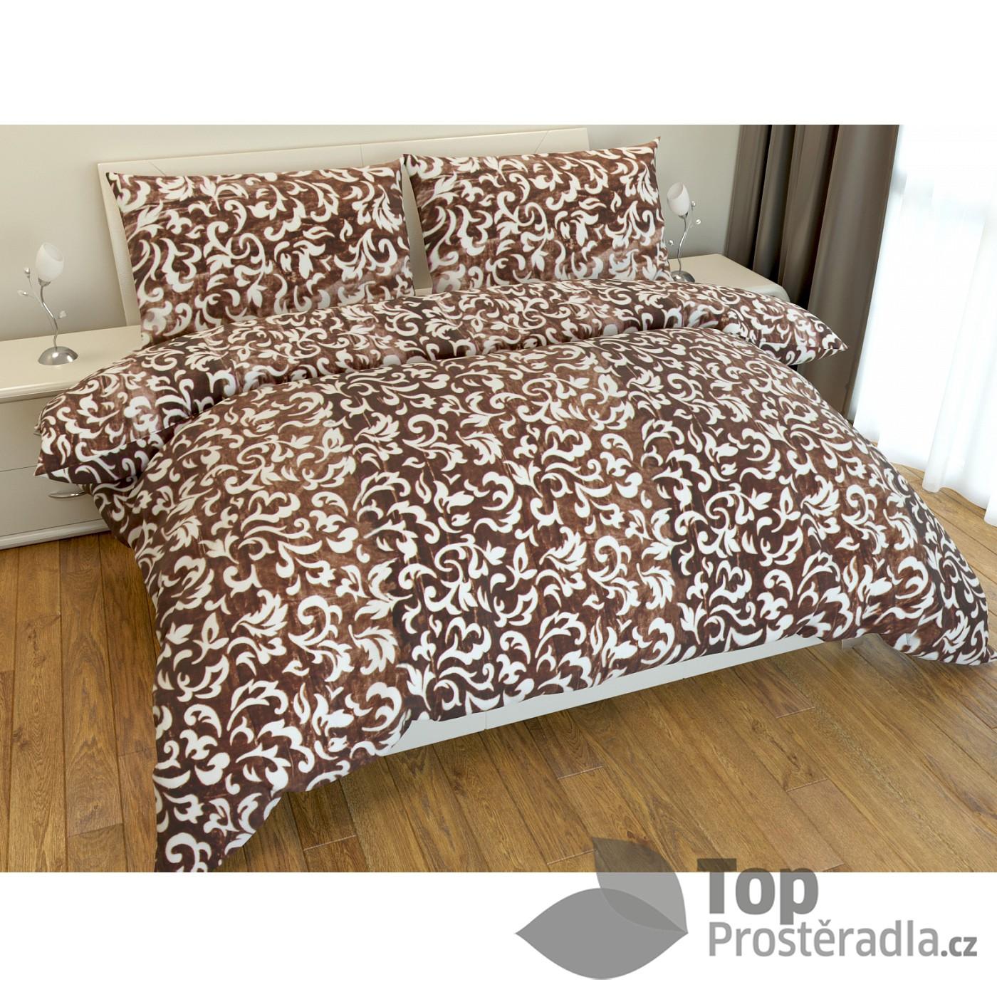 TOP Povlečení mikroflanel DELUXE Floral 220x200+2x70x90