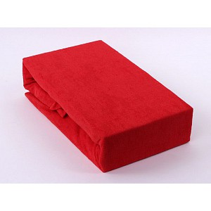 Froté prostěradlo (90 x 200) Premium - Červená