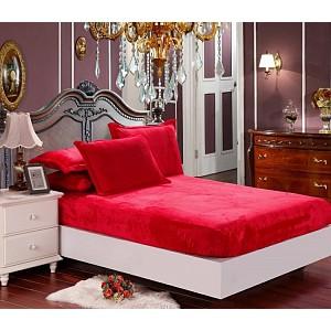Mikroflanel prostěradlo (180 x 200) Elegance - Červená