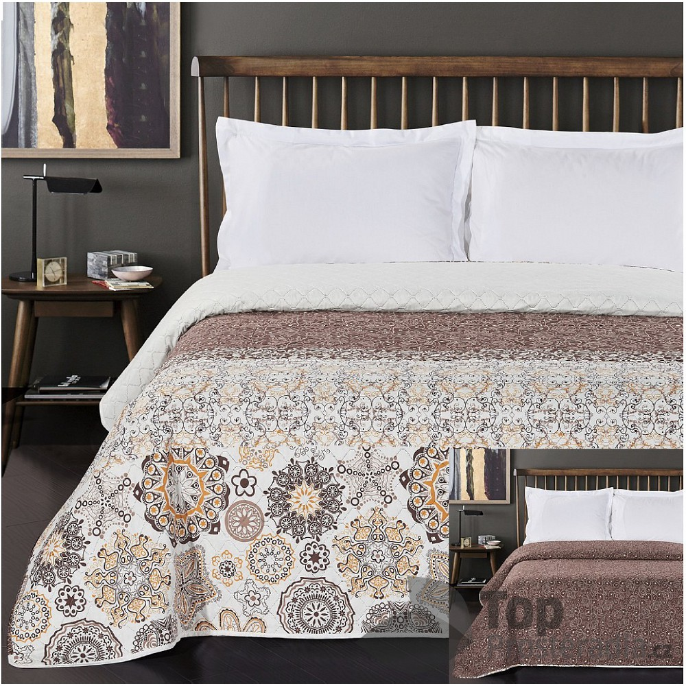 TOP Prošívaný dekorační přehoz 240x260 Alhambra hnědo-oranžová