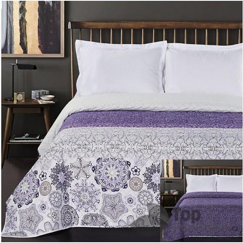 TOP Prošívaný dekorační přehoz 240x260 Alhambra purpurovo-fialová