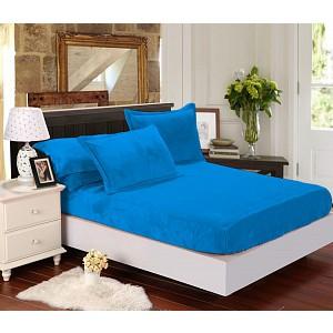 Mikroflanel prostěradlo (90 x 200) Elegance - Modrá