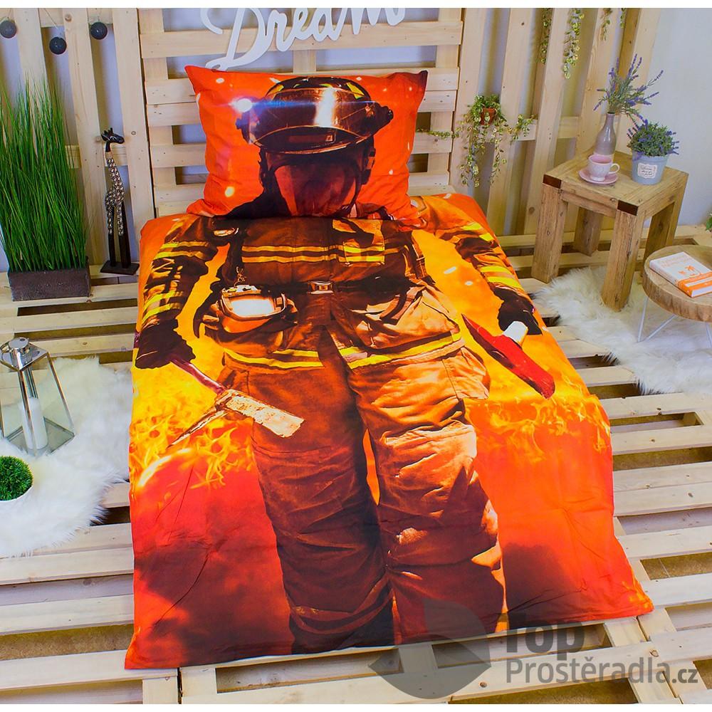 Jerry Fabrics 3D povlečení bavlna 140x200 + 70x90 - Hasič