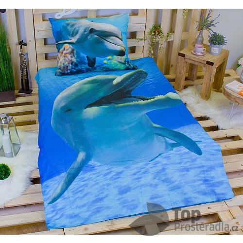 3D povlečení bavlna 140x200 + 70x90 - Delfín