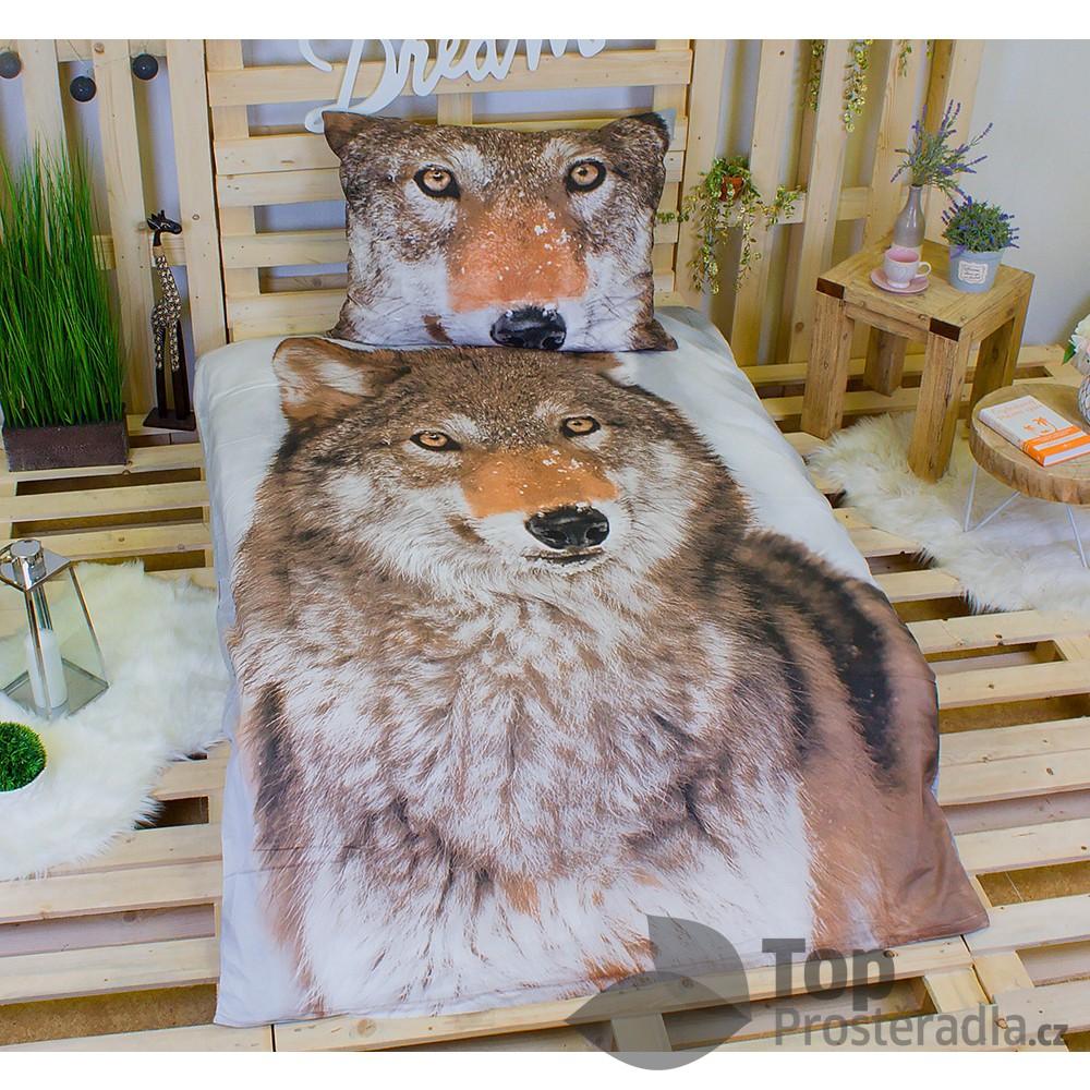 Jerry Fabrics 3D povlečení bavlna 140x200 + 70x90 - Vlk