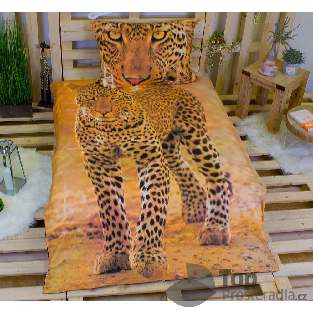 Jerry Fabrics 3D povlečení bavlna 140x200 + 70x90 - Leopard