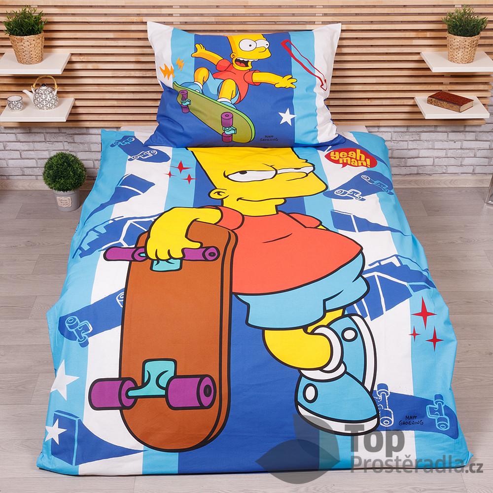 TOP Bavlněné povlečení 140x200+70x90 Bart Simpson