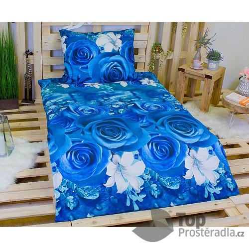 3D povlečení na dvě lůžka 140x200 + 70x90 - Modré růže