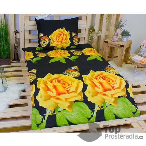 3D povlečení na dvě lůžka 140x200 + 70x90 - Žluté růže s motýlkem