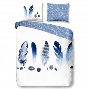 Bavlněné povlečení Good morning 140x200/220+60x70 Feathers blue