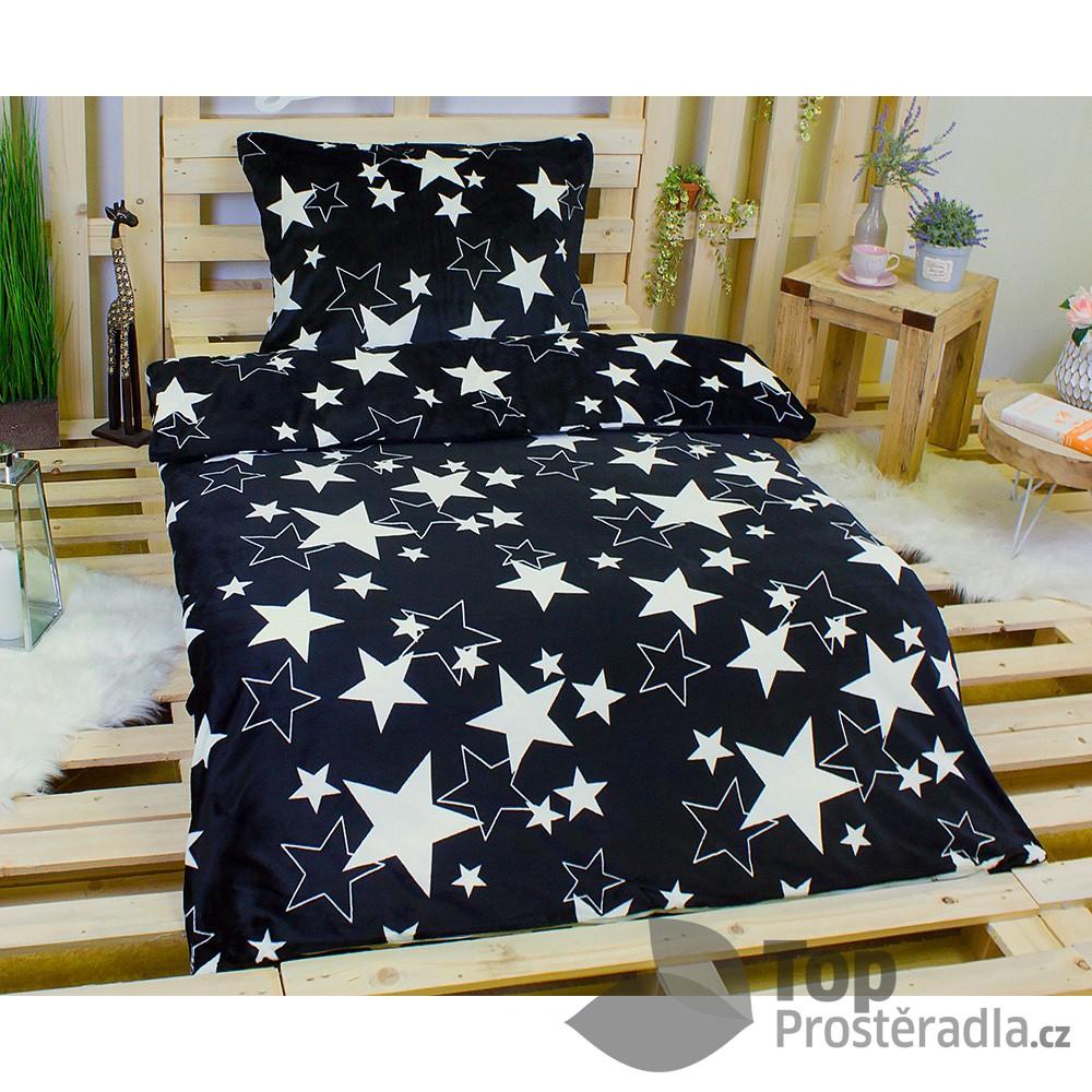 TP Hřejivé povlečení 140x200 70x90 Black star Mikroflanel