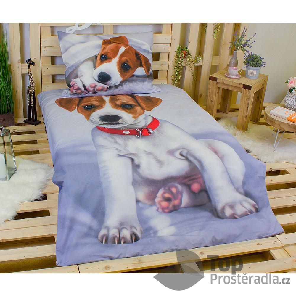 Jerry Fabrics 3D povlečení bavlna 140x200 + 70x90 - Pejsek