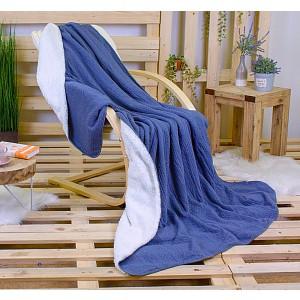 Deka beránek Babiččino štrikování 150 x 200 - Modrá