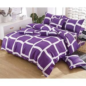 Osmidílná sada povlečení na 2 lůžka 140x200+70x90 - Purple squares