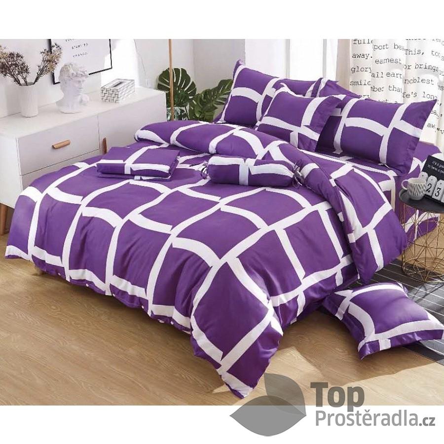 TOP Osmidílná sada povlečení na 2 lůžka 140x200+70x90 Purple squares