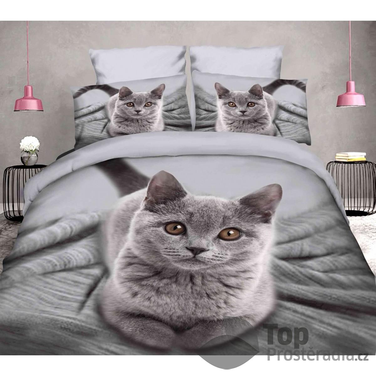 TOP 3D povlečení 140x200 70x90 Kočka