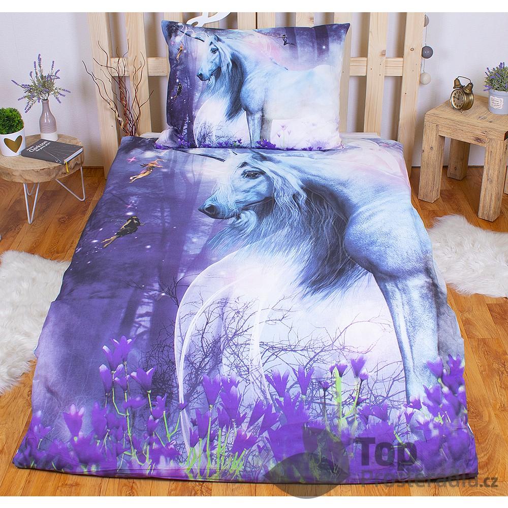 3D bavlněné povlečení Charming Unicorn 140x200+70x90