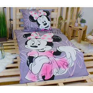 Dětské bavlněné povlečení Minnie Grey 140x200+70x90