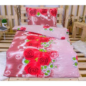 Krepové povlečení ECONOMY 140x200+70x90 - Růže a kopretinky