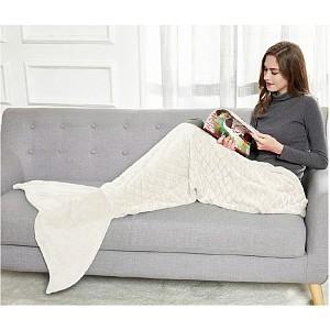 Mikroflanelová televizní deka Mořská panna 140 cm - Béžová