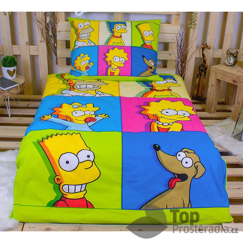 Dětské bavlněné povlečení Simpsonovi colors 140x200+70x90