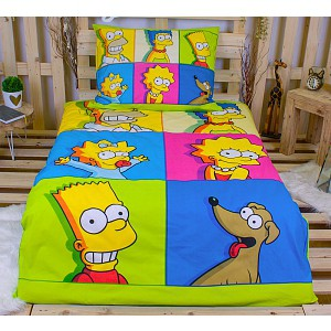Bavlněné povlečení Simpsonovi colors 140x200+70x90