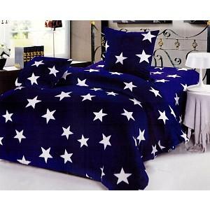 Třídílné povlečení mikrovlákno (70x90 + 140x200 + 50x50 cm) Blue stars