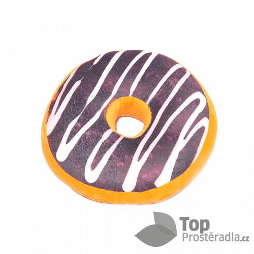 Dekorační plyšový polštářek DONUT 40 cm -  Double Choco Dark