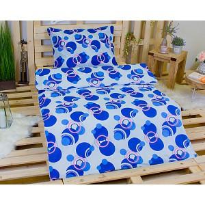 Bavlněné povlečení 140x200+70x90 - Modré Atomy