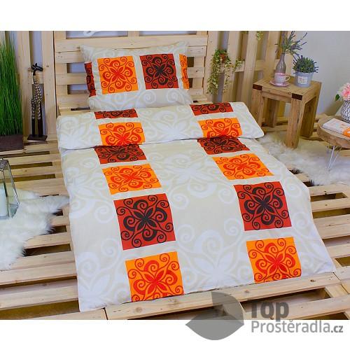 Bavlněné povlečení 140x200+70x90 - Orient oranžový