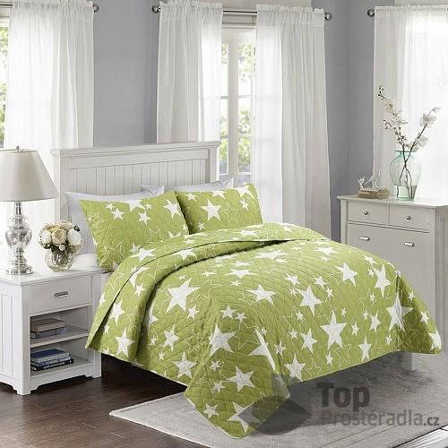 TOP Prošívaný dekorační přehoz 200x240 Stars zelené