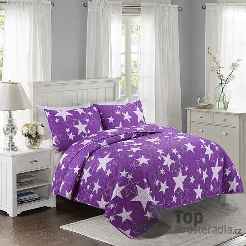 TOP Prošívaný dekorační přehoz 200x240 Stars fialové