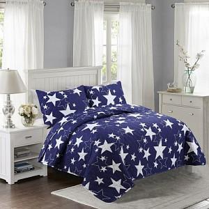 Prošívaný dekorační přehoz 200x240 Stars modré