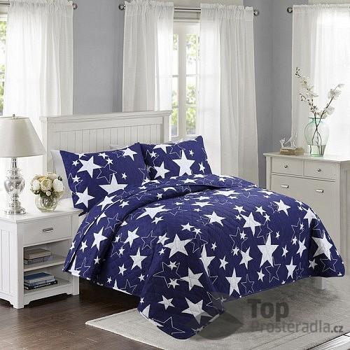 TOP Prošívaný dekorační přehoz 200x240 Stars modré