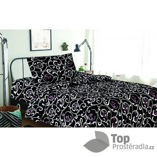 TOP Povlečení z mikrovlákna 140x200 70x90 Orient černý s fialovou
