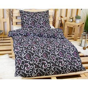 Povlečení mikrovlákno 140x200+70x90 Orient černý s fialovou