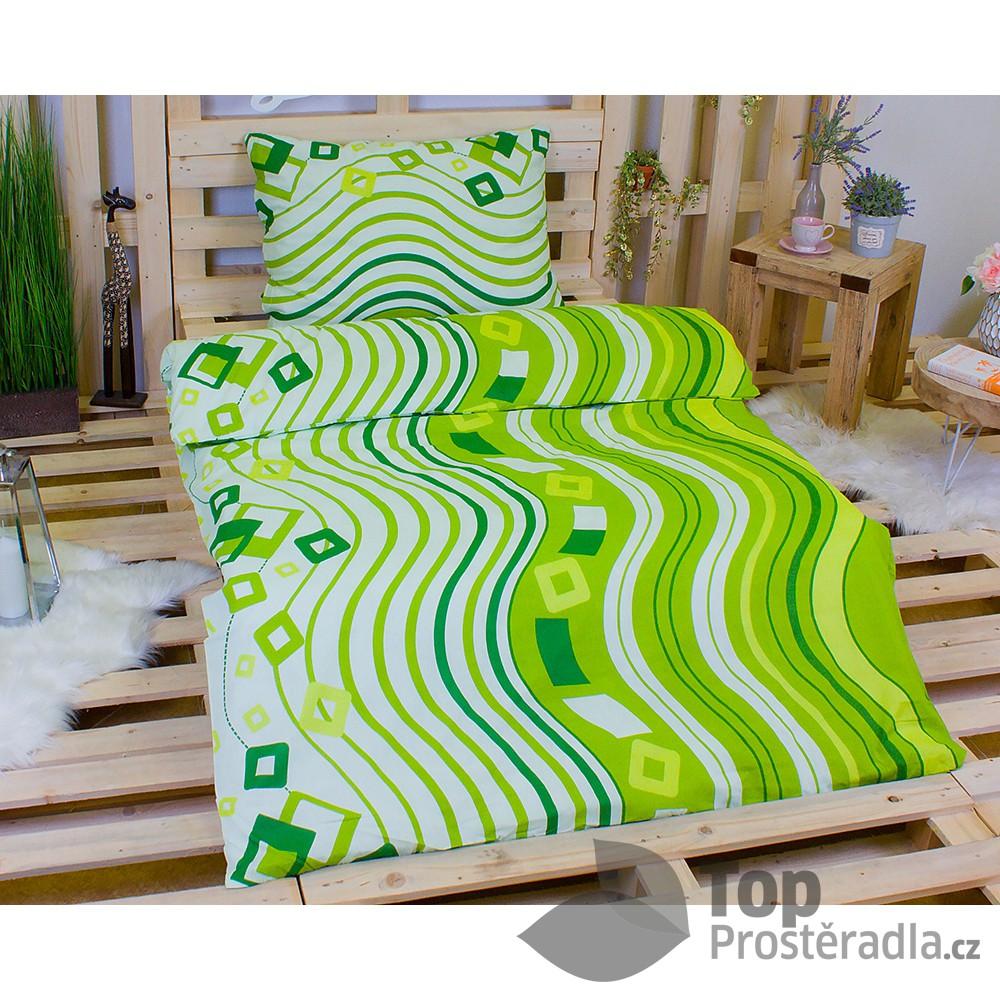 TOP Bavlněné povlečení 140x200 70x90 Zelené vlnky