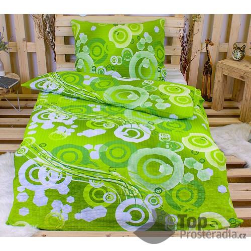 Krepové povlečení kruhy zelené 140x200+70x90