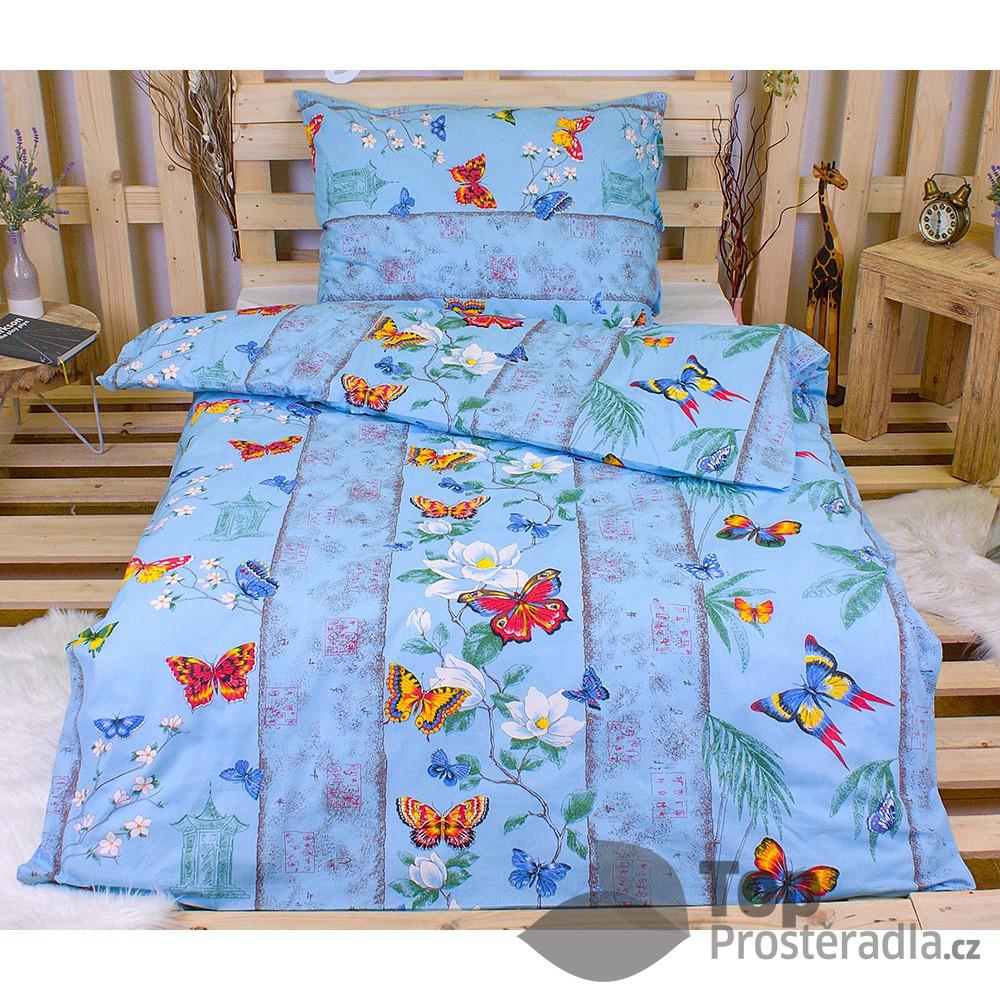 TOP Bavlněné povlečení 140x200+70x90 Motýl modrý