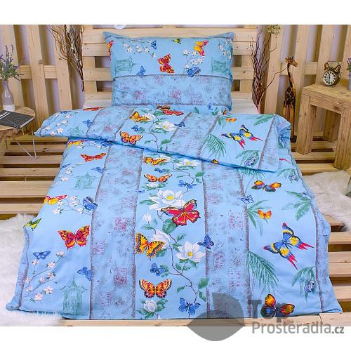 Bavlněné povlečení 140x200+70x90 - Motýl modrý