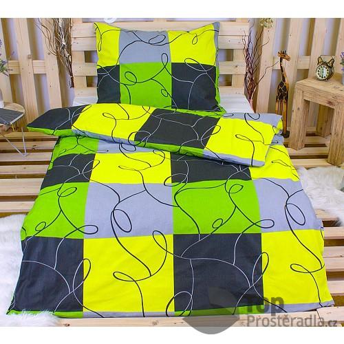 Bavlněné povlečení 140x200+70x90 - Limetkové šachy