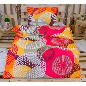 Bavlněné povlečení 140x200+70x90 - Puntíkové kruhy oranžové