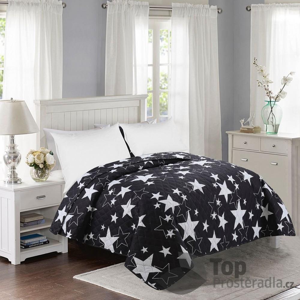 TOP Prošívaný dekorační přehoz 200x240 Stars černé