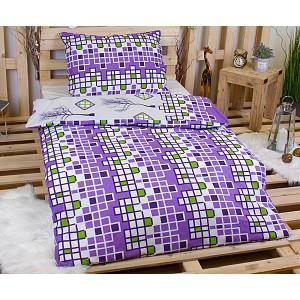 Bavlněné povlečení 140x200+70x90 - Tetris fialový
