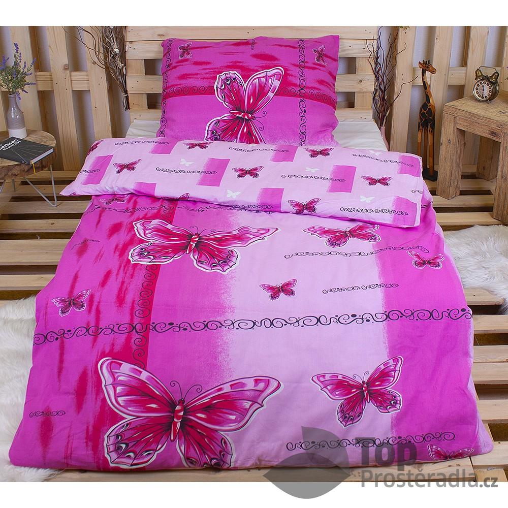 TOP Bavlněné povlečení 140x200 70x90 Pink butterfly