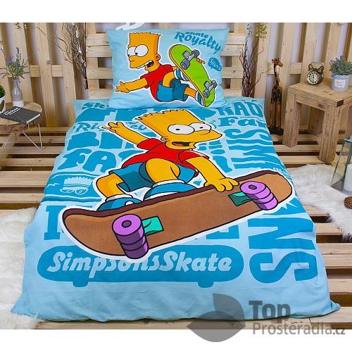 Bavlněné povlečení 140x200+70x90 Bart Simpson Blue