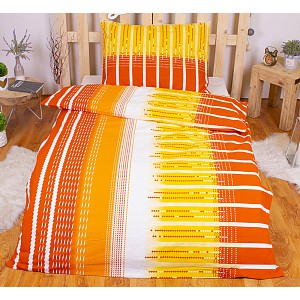 Flanelové povlečení DELUXE 140x200+70x90 - Podzimní proužky oranžové